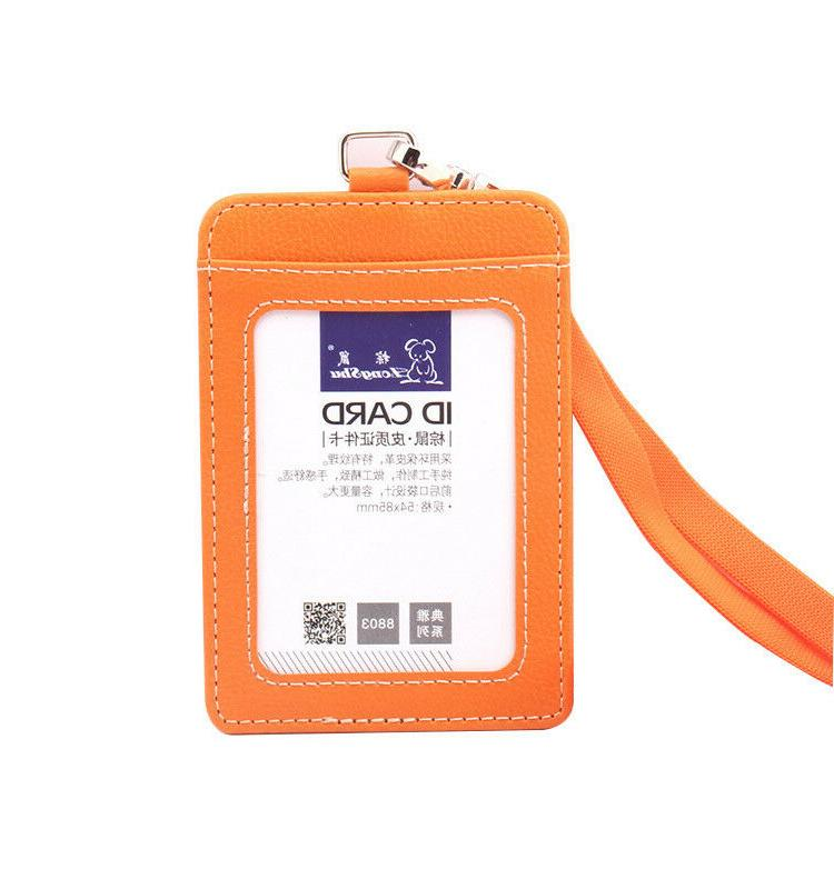 ID Badge Pu Leather Neck Case