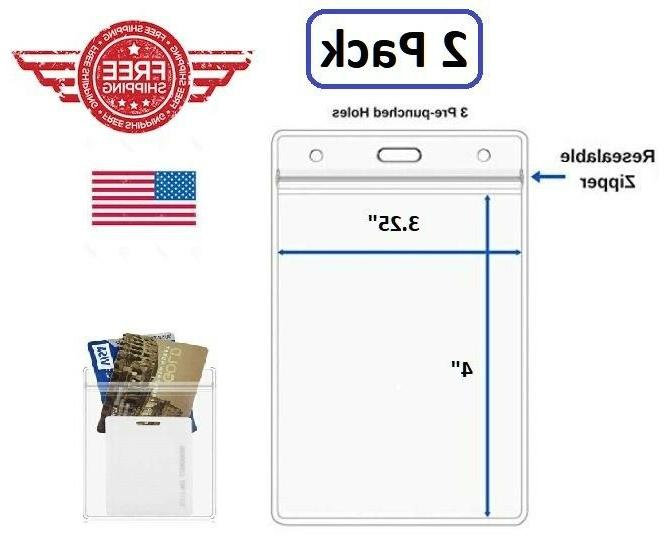 id card holder clear plastic badge resealable
