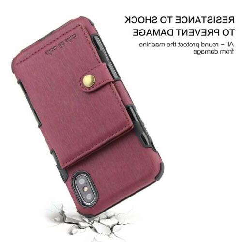 For XS XR 6 8 Wallet Leather Card Holder Cover