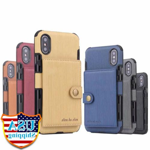 For iPhone 11 XS MAX/ XR X 6 7 8 Wallet Leather Holder
