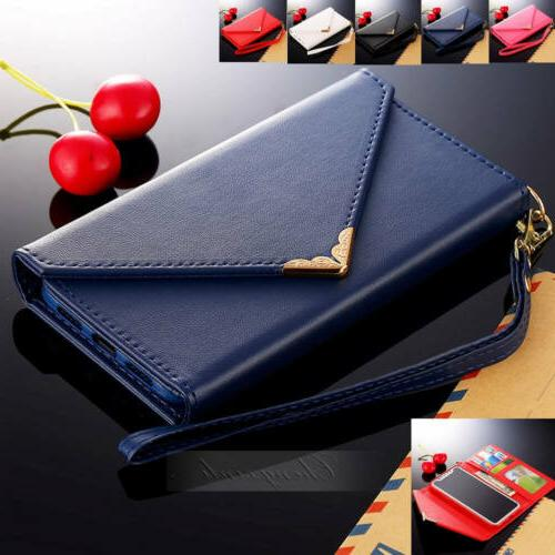 For iPhone X 8 Plus Business Lady Women Card Holder Case Lea
