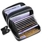 Leather Credit Card Wallet with Zipper, MaxGear Genuine Hold