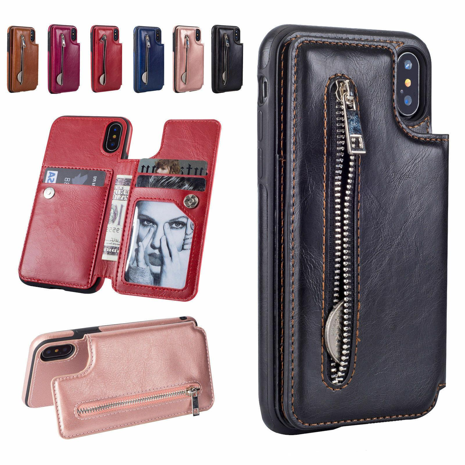 leather flip wallet card holder case zipper