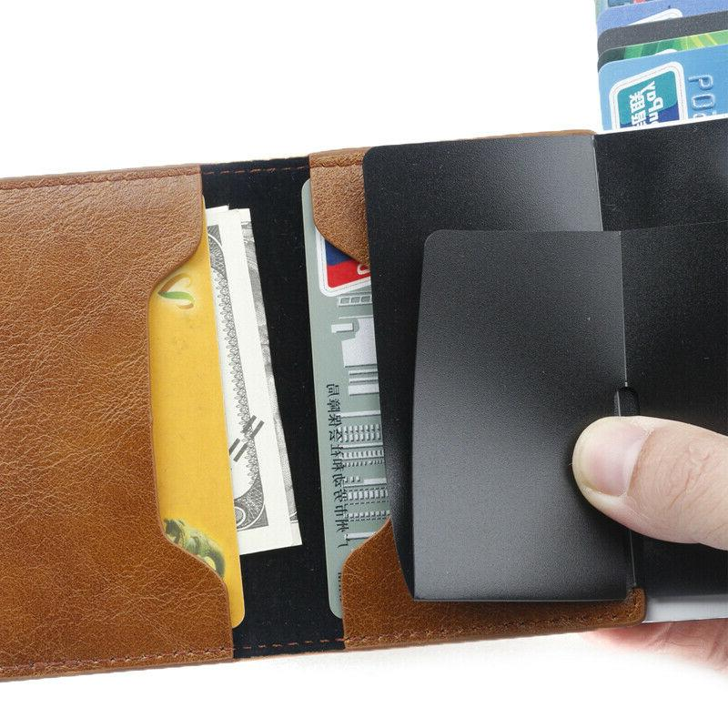 Leather Pop-up Purse Metal Credit Card Wallet