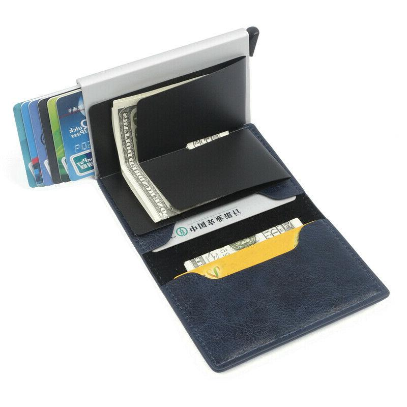 Leather Metal Credit Card Wallet Money