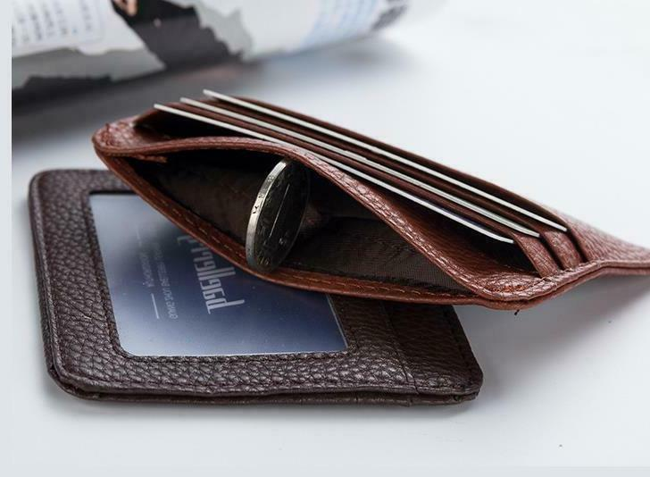 Leather Slim Flat Wallet Card Case Card Holder Front ID