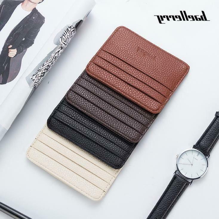 Leather Slim Flat Wallet Card Front ID