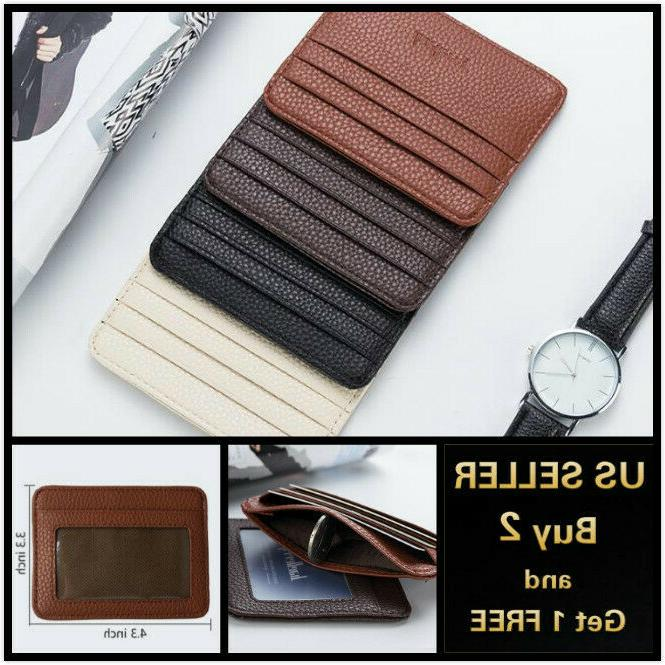 leather slim flat wallet card case card