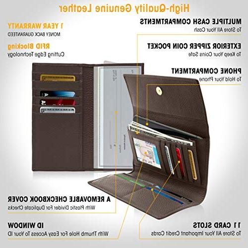 Leather Trifold For Women RFID With Checkbook Gifts Women