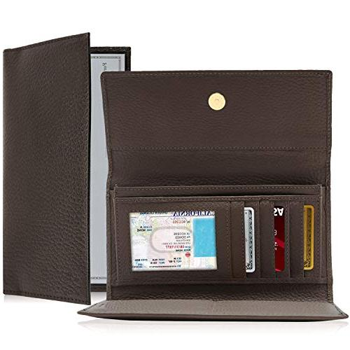 Leather Clutch For Women - RFID Wallet Removable Checkbook Organizer Box Gifts
