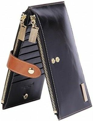 Borgasets Leather Wallet Credit Card Holder RFID Blocking Zi