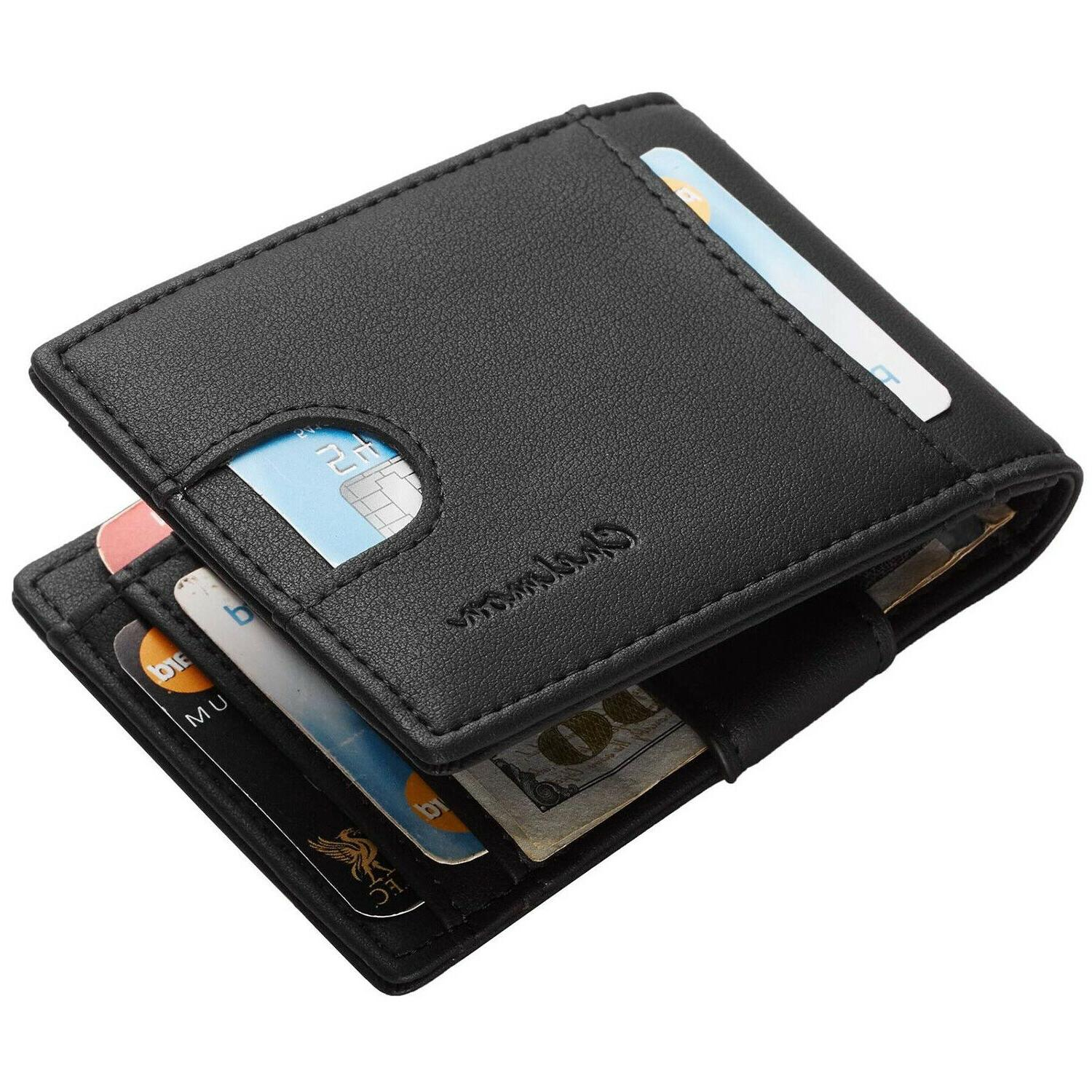 Leather Card Slim Holder Front Pocket Money Blocking