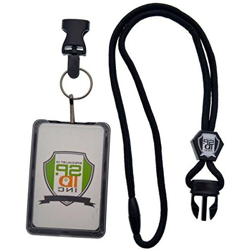 Specialist ID Load THREE CARD Holder Hard Plastic with Duty Lanyard Quick Release Metal Clip & Key Ring