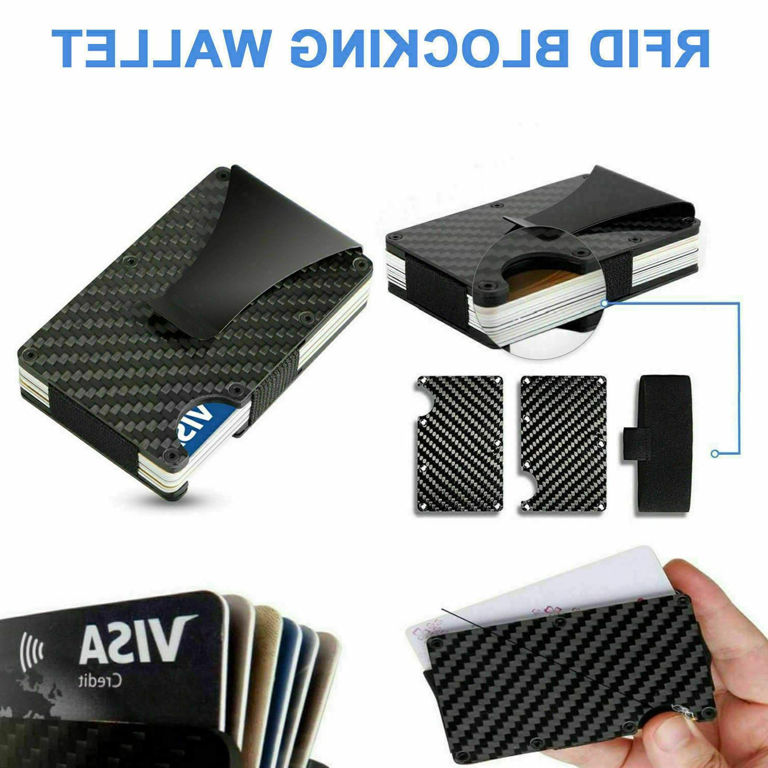 Men Credit Card Holder Wallet RFID Slim Money Carbon Fiber