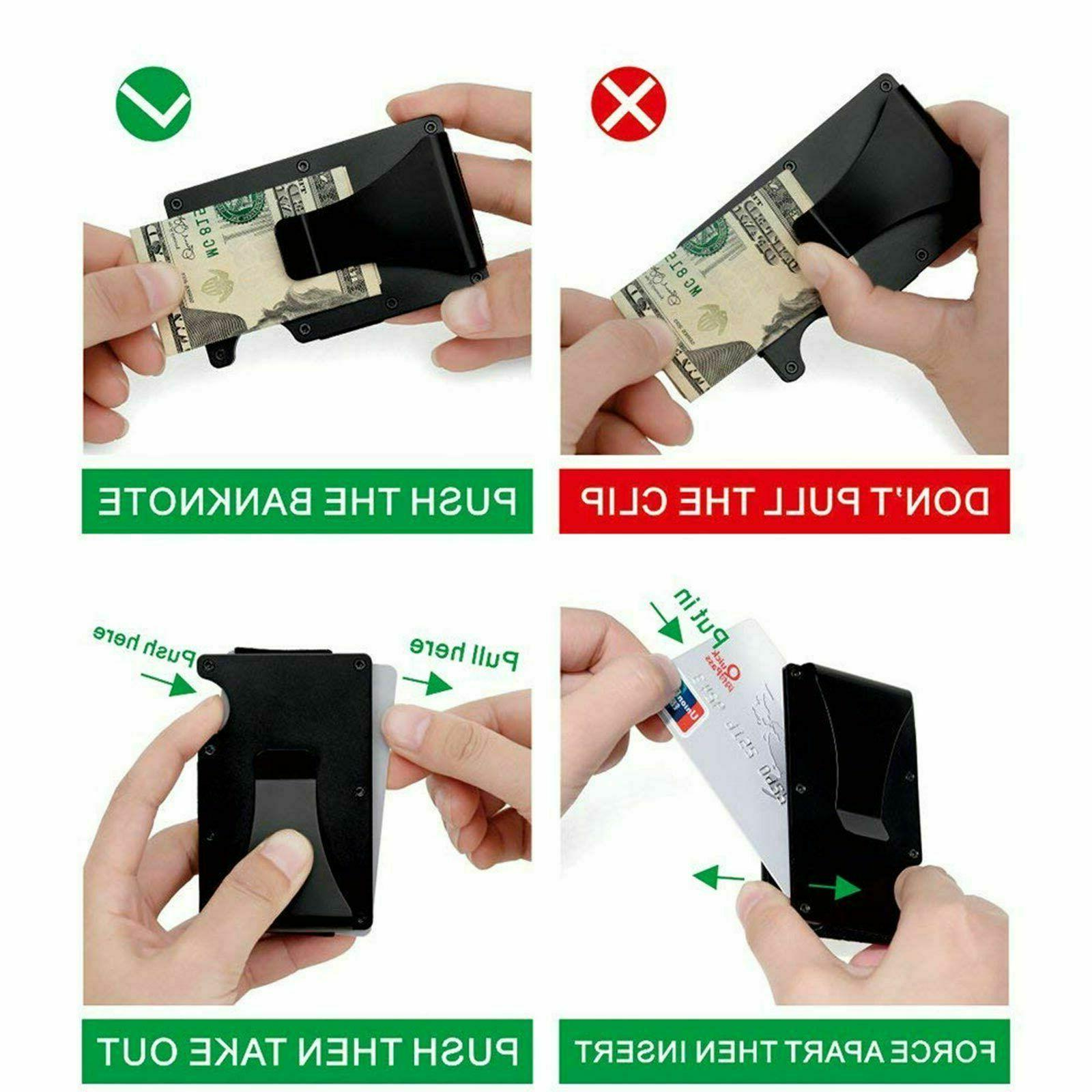 Men Blocking Slim Money1 Clip Card ID Holder Minimalist