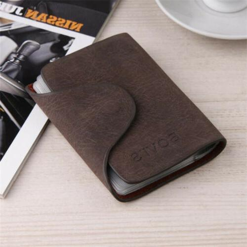 Men Business Credit Card Leather Wallet Purse Slots