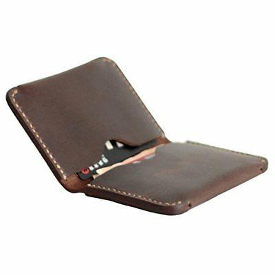 MEKU Men's Handmade Slim Leather Wallet Credit Card Holder S