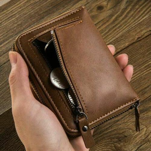 Men's Leather ID Card with Coin Purse