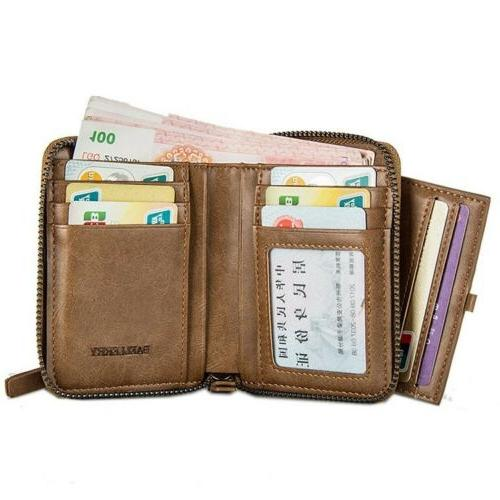 Men's Leather Credit ID Holder with Zipper Coin Purse