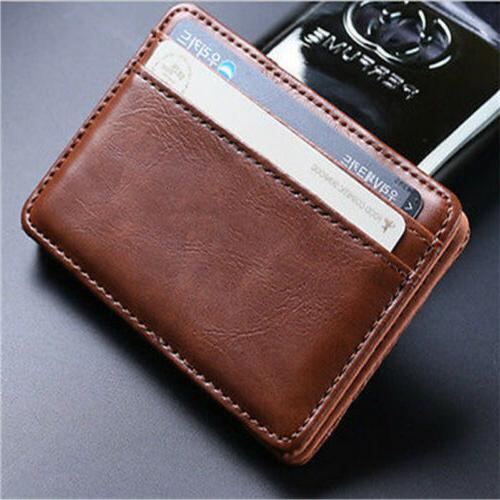 Men's Leather Magic Money Clip Slim Wallet ID Credit Card Ho
