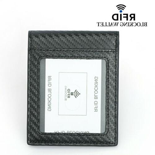 Men's Leather RFID Carbon Fiber Holder Wallet