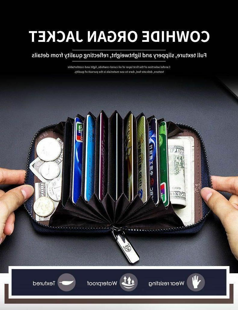 Men's Leather Trifold ID Holder RFID Blocking Clutch Clip