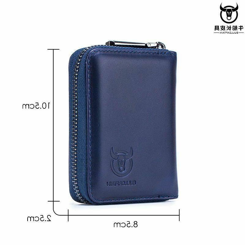 Men's Leather Trifold Wallet ID Card RFID Clip