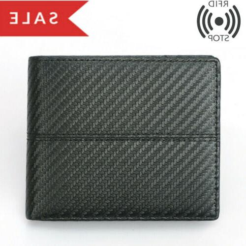 RFID Men's Leather Card Holder Bifold Carbon Fiber Fashion