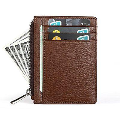 MEKU Men's Slim Leather Front Pocket Wallet Credit Card Hold