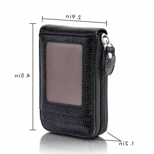 Men's Genuine Leather Credit Card Wallet Holder RFID Blocking Thin