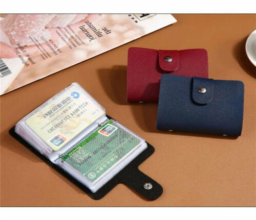 Men's PU Leather Pocket Business ID Credit Card Slot Holder Wallet