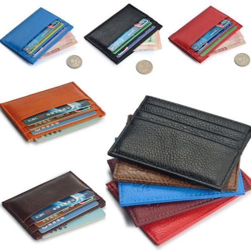 Men's Women's Real Leather Small Id Credit Card Wallet Holde