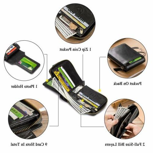 Mens Leather Wallet RFID Blocking Multi