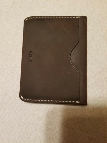 mens handmade slim leather wallet credit card