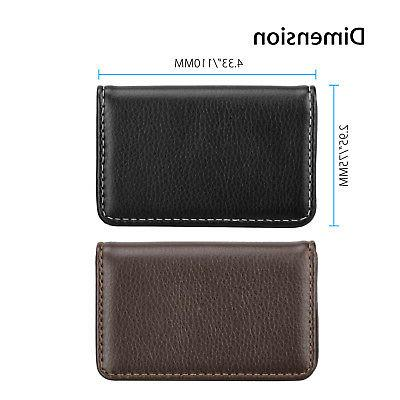 Mens Leather Business ID Credit Card Case Shut