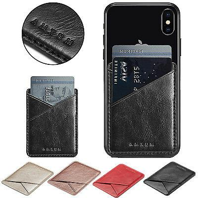 Mobile Phone Leather Credit Card Wallet Holder Pocket Stick-
