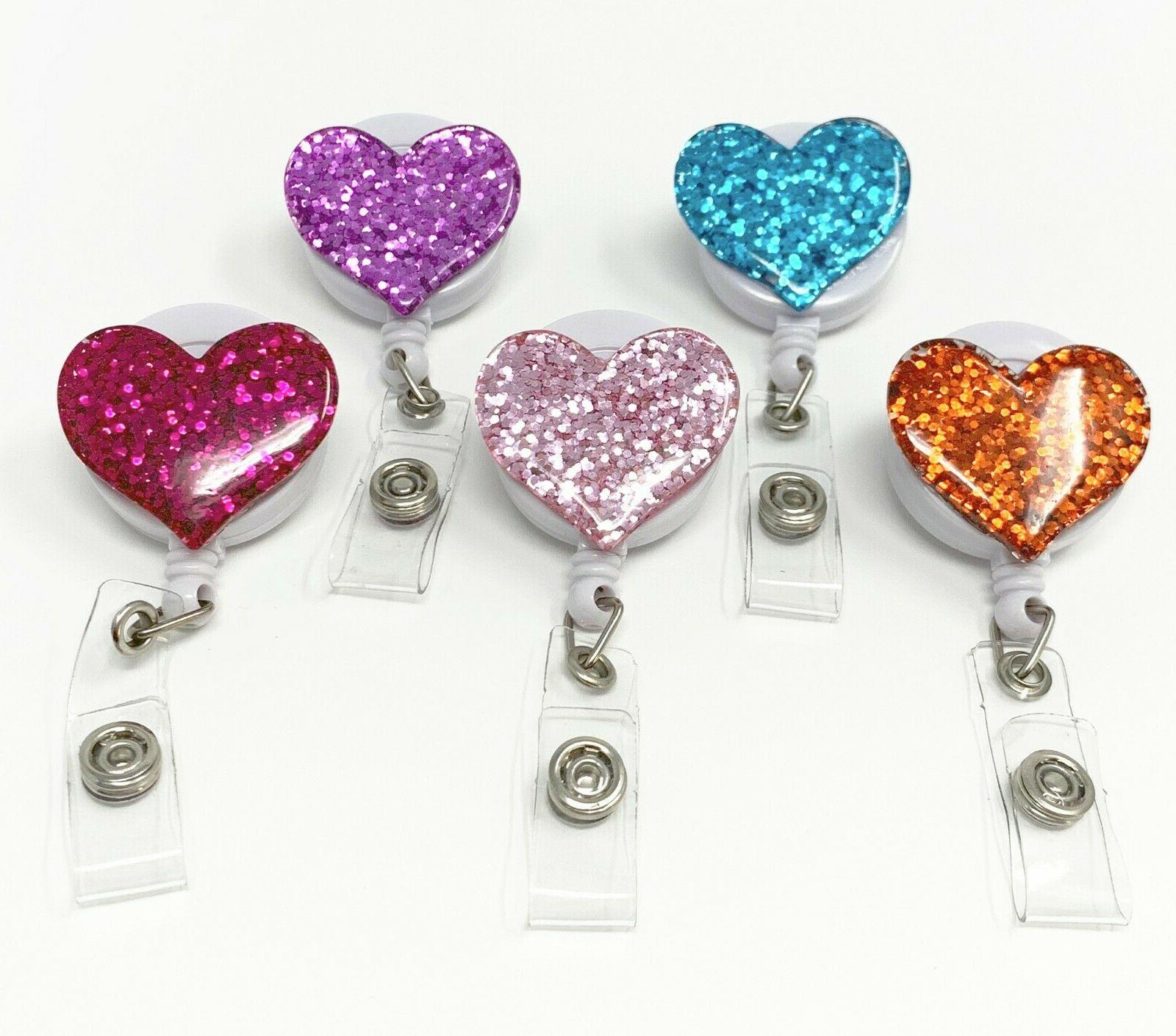 multi color bling heart retractable id badge