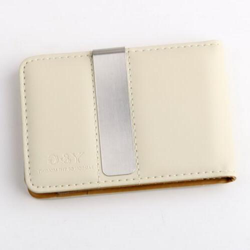 MW1001 Brown Beige Leather Money Clip Credit Card