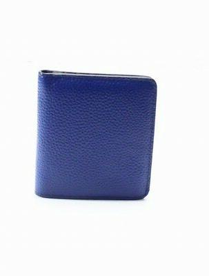 new blue pebble leather silver tone id