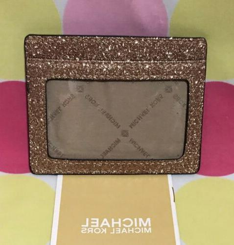 NEW MICHAEL LG CARD HOLDER LEATHER GLITTER ROSEGOLD