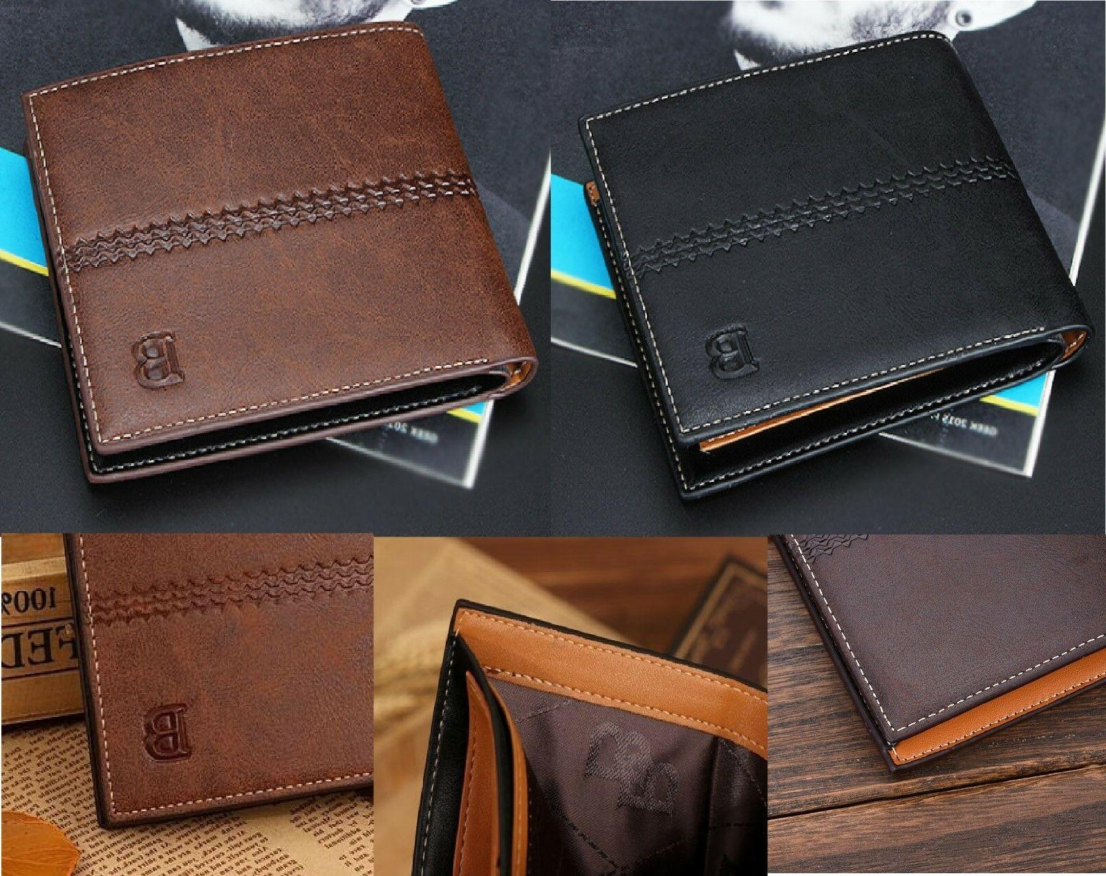 New Men's Leather ID Wallet