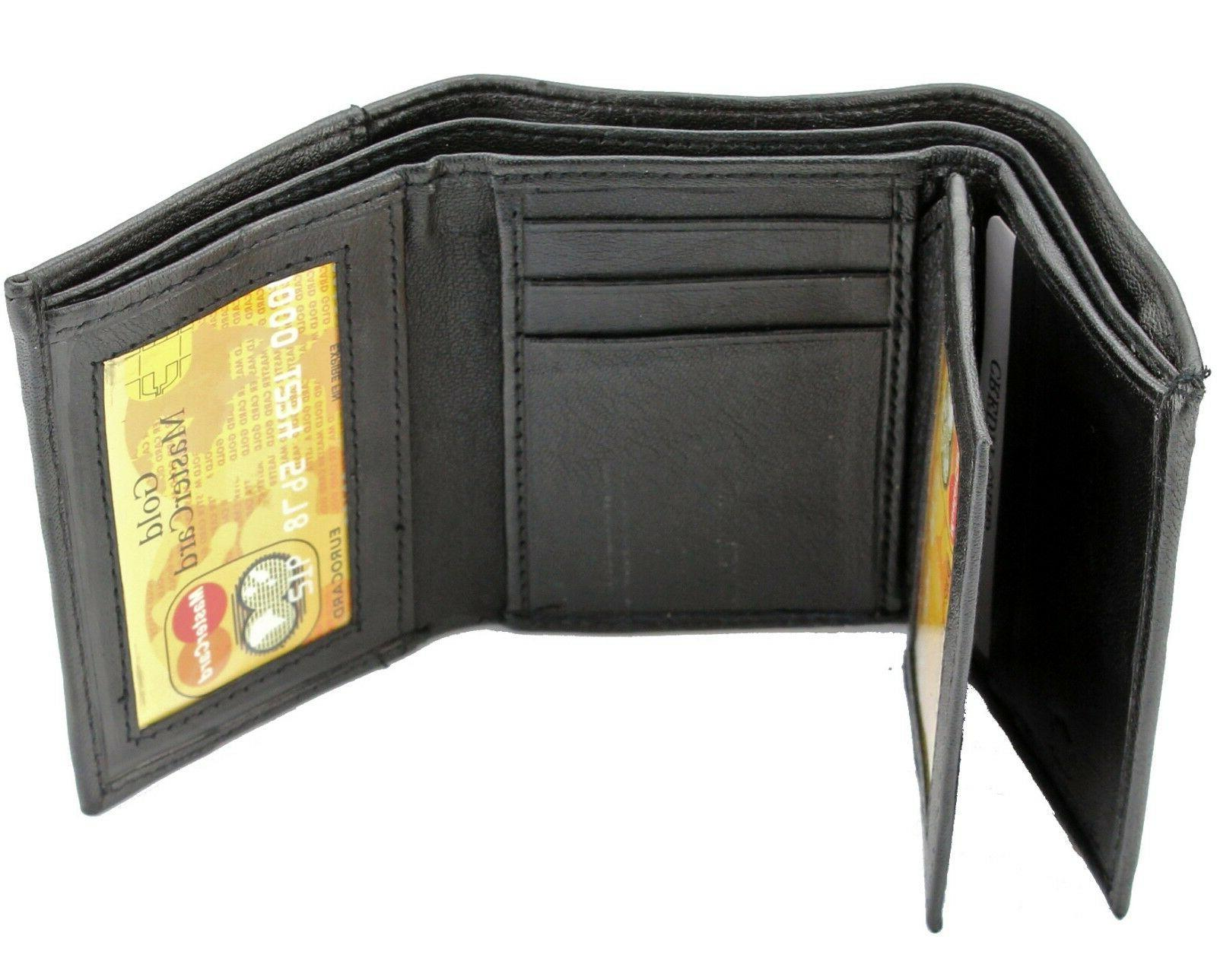 New Mens Black Genuine Leather Trifold Wallet ID Window Cred