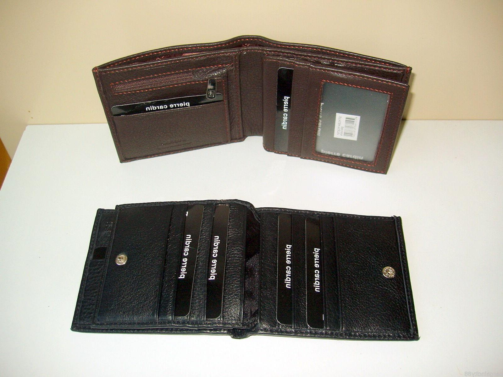 New PIERRE Leather Mens Wallet Card Holder+Gift Styles