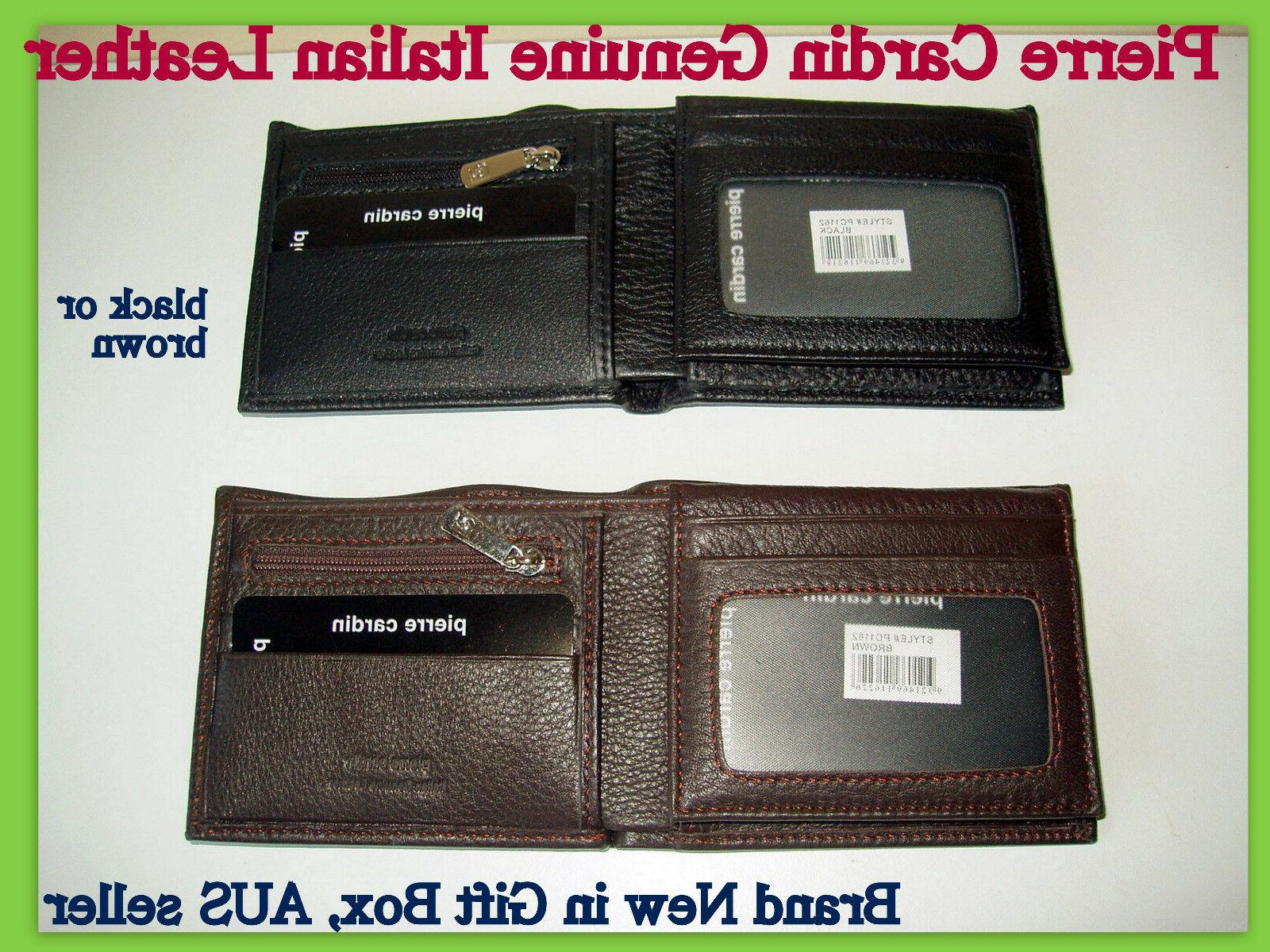 New Pierre Cardin RFID Blocking Genuine Leather Mens Walllet w//Coin Change Purse