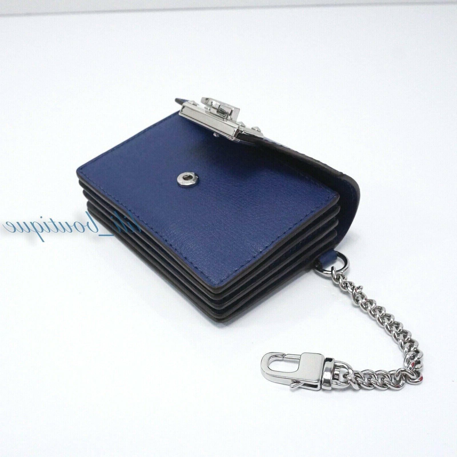 NWT Kinsley Card Holder Leather Sapphire Blue $148