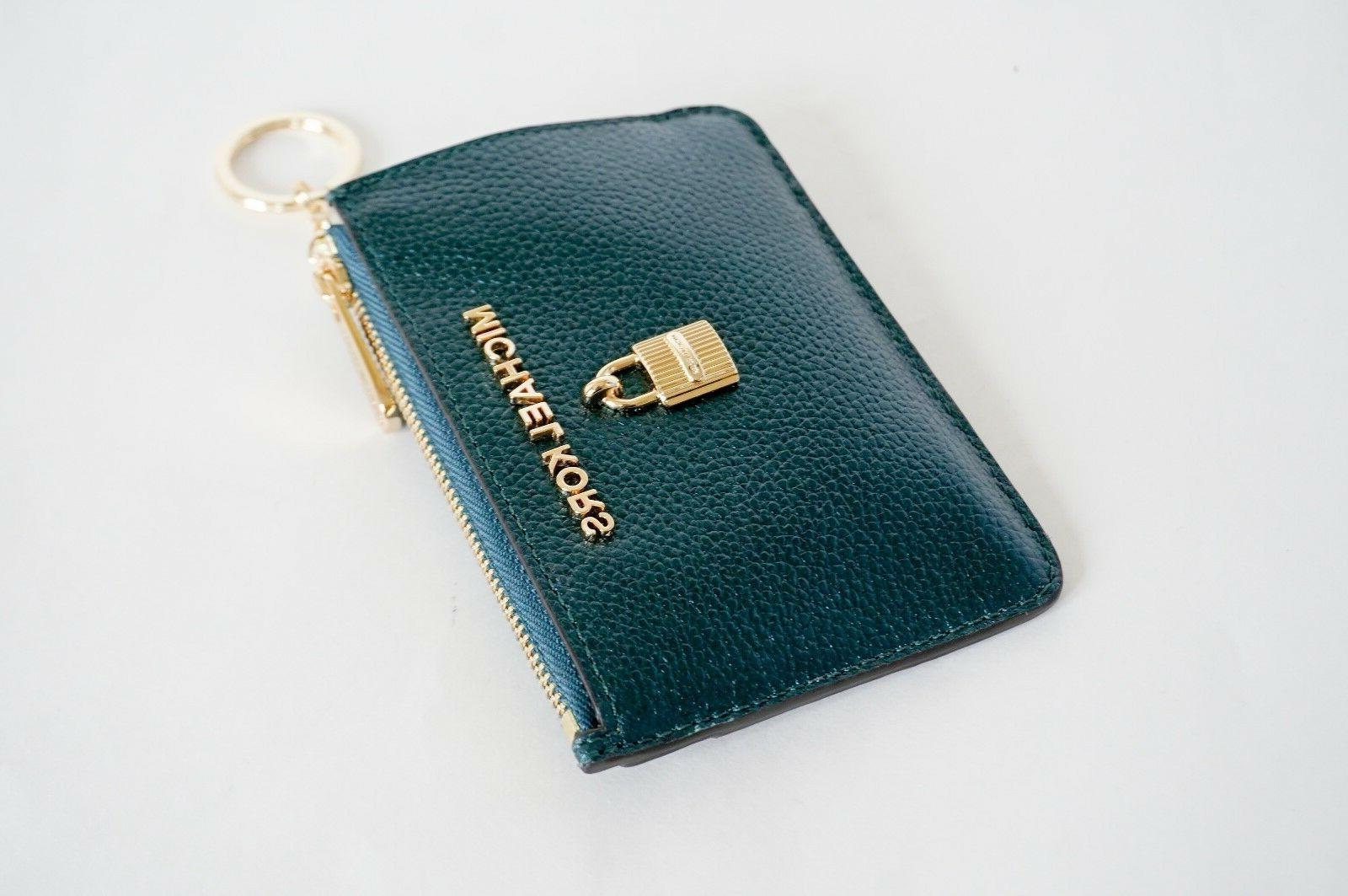 NWT KORS SMALL TOP ID KEY RING HOLDER TEAL