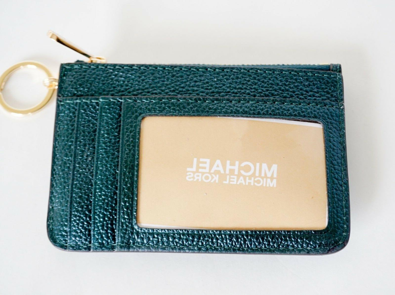NWT MICHAEL SMALL TOP ZIP COINPOUCH ID KEY RING CARD