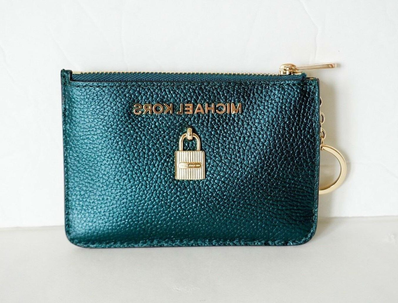 nwt small top zip coinpouch with id