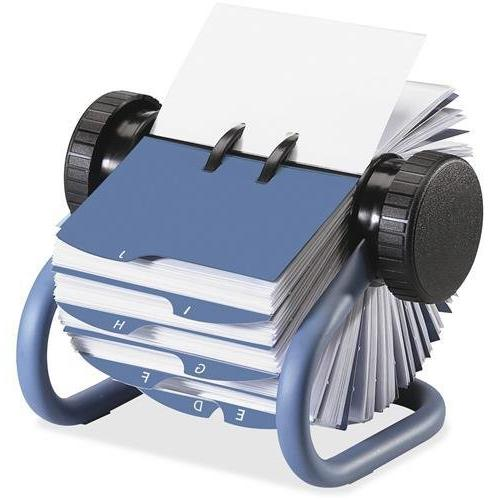 Colored Open Card File with Guides, Blue