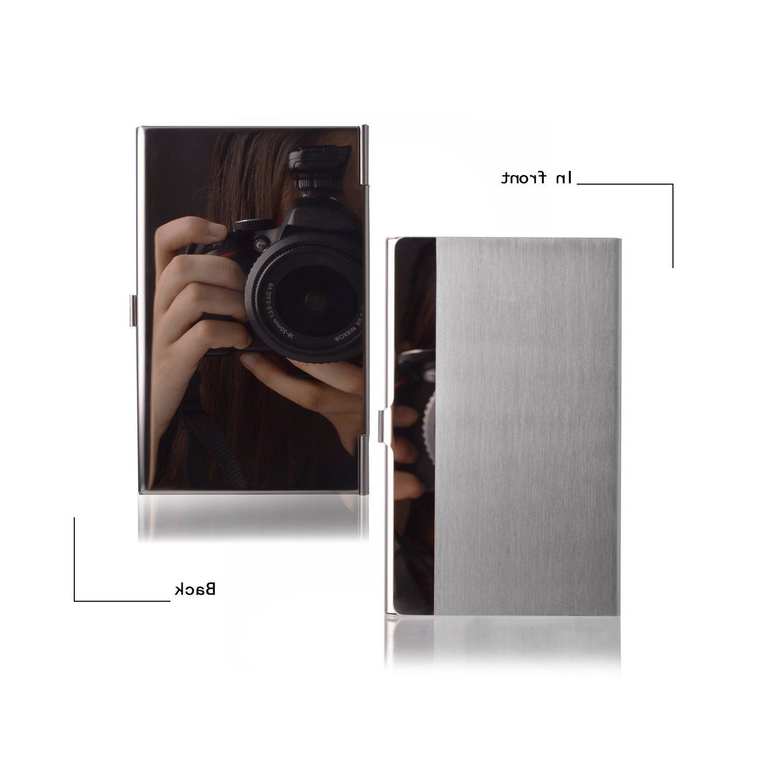 Pocket Stainless Steel Metal Business Case Silver